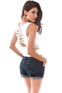 Dear-lover 25058 Sexy Trägertop mit trendigen Löchern in weiß