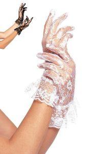 Leg Avenue G1260 Spitzen Handschuhe mit Rüsche weiß oder schwarz