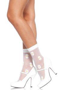 Leg Avenue 3036 Durchsichtige Söckchen mit eingewobenen Gänseblümchen in weiß