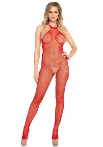 Leg Avenue 8509 Designer Fischnetz Catsuit ouvert schwarz oder rot