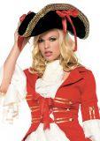 Leg Avenue 2099 Piraten Hut mit Goldverzierung + Federn