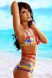 Dear-lover 41428 Sexy folkloristischer Badeanzug mit Blumenmeer und Riemchen
