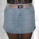 Lady Mei Jeans Minirock blau mit farbigem Gürtel Gr. M