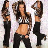 In-Style Fashion Sexy Hüft Hose mit Nadelstreifen schwarz