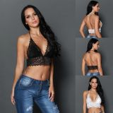 Dear-lover 250018 Sheer Scalloped Lace Halter Bralette Top